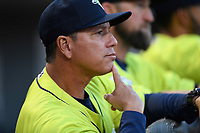 Manager Pedro Lopez (16) of the Columbia Fireflies in a game against the Charleston RiverDogs on Saturday, April 6, 2019, at Segra Park in Columbia, South Carolina. Columbia won, 3-2. (Tom Priddy/Four Seam Images)
