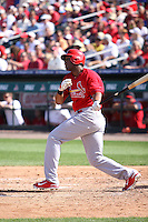 Xavier Scruggs (59) of the St. Louis Cardinals at bat during a spring training game against the Miami Marlins at the Roger Dean Complex in Jupiter, Florida on March 5, 2015. St. Louis defeated Miami 4-1. (Stacy Jo Grant/Four Seam Images)