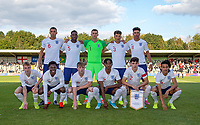 England U18 pre match team photo (back row l-r) Yunus Musah (Valencia), Teden Mengi (Manchester United), Goalkeeper Louie Molden (Manchester City), Hayden Roberts (Brighton & Hove Albion), Morgan Rogers (Manchester City) (front row l-r) Cole Palmer (Manchester City), Yunus Musah (Valencia), Joseph Gelhardt (Wigan Athletic), Nonso Madueke (PSV), Valentino Livramento (Chelsea) & Miguel Azeez (Arsenal) during the Under 18 International friendly match between England U18 & Brazil U18 at Hednesford Town Football Club, Keys Park, Cannock on 8 September 2019. Photo by Andy Rowland.