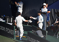 Kane Williamson declares and congratulates Henry Nicholls as he leaves the field.<br /> New Zealand Blackcaps v England. 1st day/night test match. Eden Park, Auckland, New Zealand. Day 4, Sunday 25 March 2018. &copy; Copyright Photo: Andrew Cornaga / www.Photosport.nz