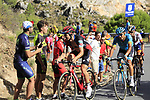 Nicolas Roche (IRL) BMC Racing Team, Andrey Zeits (KAZ) Astana and Gorka Izaguirre Insausti (ESP) Bahrain-Merida on the slopes of Sierra de la Alfaguara near the finish of Stage 4 of the La Vuelta 2018, running 162km from Velez-Malaga to Alfacar, Sierra de la Alfaguara, Andalucia, Spain. 28th August 2018.<br /> Picture: Eoin Clarke | Cyclefile<br /> <br /> <br /> All photos usage must carry mandatory copyright credit (&copy; Cyclefile | Eoin Clarke)