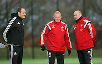 Pictured: Caretaker manager Alan Curtis (C) and team psychologist Ian Mitchell Wednesday 23 December 2015<br />Re: Swansea City FC training ahead of their West Bromwich Albion game, Fairwood, near Swansea, Wales, UK