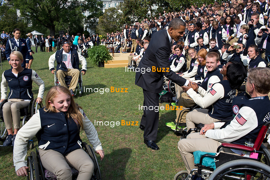 President Barack Obama greets athletes during an event honoring the 2012 United States Olympic and Paralympic Teams on the South Lawn of the White House, Sept. 14, 2012. (Official White House)..