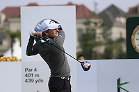 Emiliano Grillo (ARG) tees off the 1st tee to start his match during Sunday's Final Round of the 2014 BMW Masters held at Lake Malaren, Shanghai, China. 2nd November 2014.<br /> Picture: Eoin Clarke www.golffile.ie
