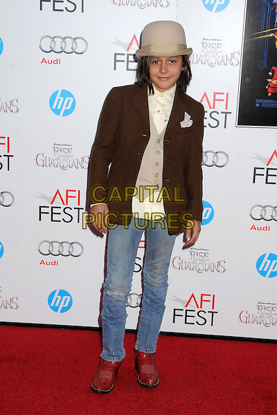 """Isaak Presley.AFI FEST 2012 """"Rise of the Guardians"""" Gala Screening held at Grauman's Chinese Theatre, Hollywood, California, USA..November 4th, 2012.full length beige hat bowler brown suit jacket top jeans denim red boots white shirt.CAP/ADM/BP.©Byron Purvis/AdMedia/Capital Pictures."""