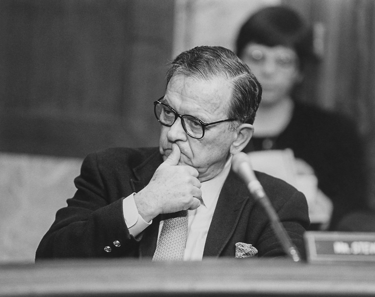 Sen. Ted Stevens, R-Alaska, on March 11, 1994. (Photo by Chris Martin/CQ Roll Call via Getty Images)
