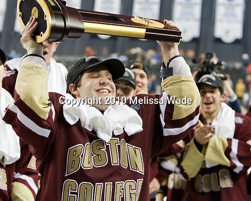 Joe Whitney (BC - 15) - The Boston College Eagles defeated the University of Wisconsin Badgers 5-0 to win the NCAA Division 1 national championship at the 2010 Frozen Four on Saturday, April 10, 2010, at Ford Field in Detroit, Michigan.