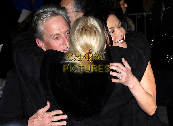 CATHERINE ZETA JONES, MICHAEL DOUGLAS & LAUREN BACALL.Bvlgari presents the 2007 National Board of Review of Motion Pictures Awards Gala at Cipriani's 42nd Street, New York, New York, USA, 15 January 2008..half length group hug hugging greeting embracing back behind.CAP/ADM/BL.©Bill Lyons/AdMedia/Capital Pictures. *** Local Caption ***