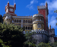 A view looking up to the Palacio de Pena, Sintra and its profusion of exotic architectural styles