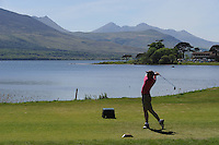 Driving at the third hole over the Killeen Course, at Killarney Golf Club on Monday after further details of the 3 Irish Open which will take place over the August Bank Holday weekend in Killarney were announced.<br /> Picture by Don MacMonagle