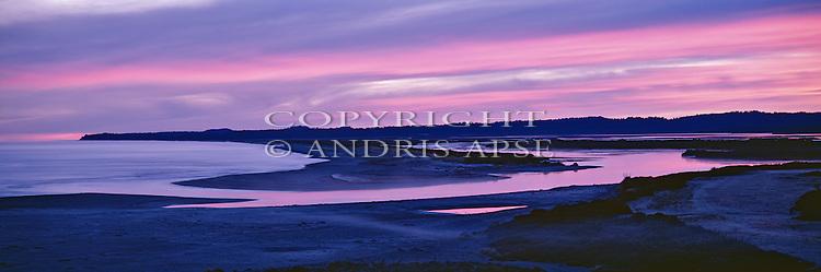 Sunrise over Okarito Lagoon. Westland Region. New Zealand.