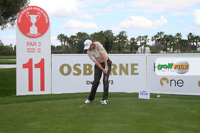 Peter Lawrie (IRL) tees off on the 11th hole during Wednesday's Pro-Am of the Open de Espana at Real Club de Golf de Sevilla, Seville, Spain, 2nd May 2012 (Photo Eoin Clarke/www.golffile.ie)