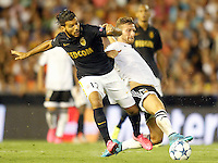 Valencia's Shkodran Mustafi (r) and AS Monaco FC's Fares Bahlouli during Champions League 2015/2016 Play-Offs 1st leg match. August  19,2015. (ALTERPHOTOS/Acero)