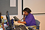 As part of the H.E.A.R.T. partnership with HISD, 17 high school students with disabilities are working and learning on the job at the Houston Food Bank. Today students are learning how to answer  the phone and take a message.