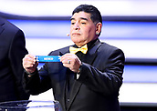 1st December 2017, State Kremlin Palace, Moscow, Russia;  Retired  player Diego Maradona holds the ticket for Mexico during the FIFA 2018 World Cup draw at the State Kremlin Palace in Moscow, Russia
