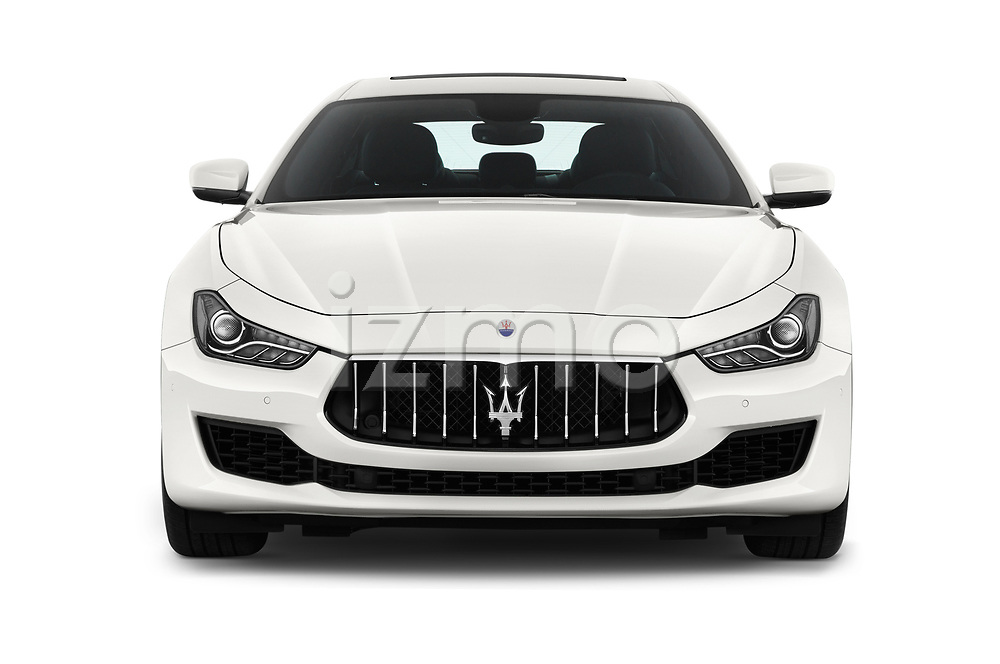 Car photography straight front view of a 2018 Maserati Ghibli Base 4 Door Sedan