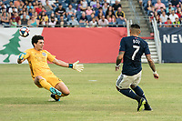FOXBOROUGH, MA - JULY 27:  Gustavo Bou #7 takes a shot at goal at Gillette Stadium on July 27, 2019 in Foxborough, Massachusetts.