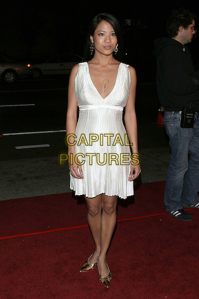 "KAREN ANNA CHUNG.""Kung Fu Hustle"" Los Angeles Premiere held at the ArcLight Cineramadome, Hollywood, California..Photo Credit: Jacqui Wong/AdMedia.March 29th, 2005.full length white dress pleated silk satin plunging neckline.www.capitalpictures.com.sales@capitalpictures.com.© Capital Pictures."