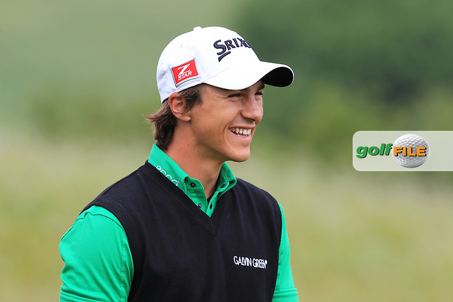 Thorbjorn Olesen (DEN) arrives on the 1st tee to start his match during Sunday's Final Round of the ISPS Handa Wales Open presented by The Celtic Manor Resort, Newport, Wales, 3rd June 2012 (Photo Eoin Clarke/www.golffile.ie)