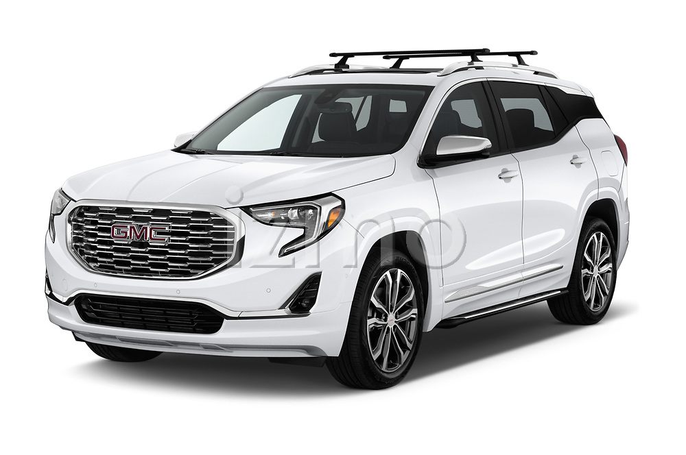 2018 GMC Terrain Denali base 5 Door SUV angular front stock photos of front three quarter view