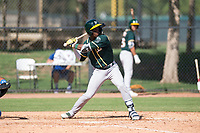 Oakland Athletics outfielder Dairon Blanco (30) at bat during an Instructional League game against the Los Angeles Dodgers at Camelback Ranch on October 4, 2018 in Glendale, Arizona. (Zachary Lucy/Four Seam Images)