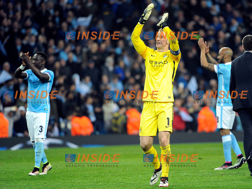 JOE HART (man) Esultanza <br /> Manchester 12/4/2016 Etihad Stadium <br /> Football Calcio 2015/2016<br /> Champions League Quarti di Finale <br /> Manchester City - Paris Saint Germain<br /> Foto Panoramic / Insidefoto <br /> ITALY ONLY