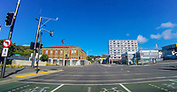Corneer of Taranaki Street and Arthur Street (SH1) at 2pm, Saturday during lockdown for the COVID19 pandemic in Wellington, New Zealand on Saturday, 18 April 2020. Photo: Dave Lintott / lintottphoto.co.nz