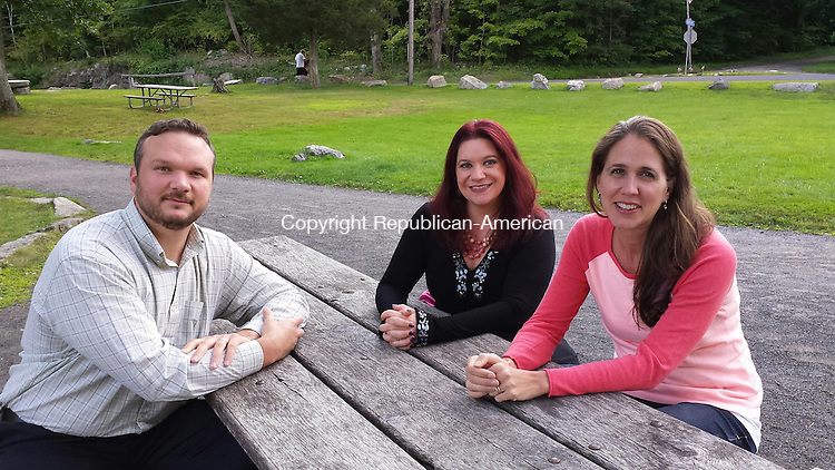 OXFORD, CT -- 15 Aug. 2014: 081514BB01 --- Joshua Rickards and, from left, Heather Nugent and Dawn Allen oppose plans for a power plant near their neighborhoods. Bill Bittar Republican-American