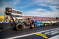 Sep 22, 2017; Mohnton, PA, USA; NHRA top fuel driver Leah Pritchett during the Dodge NHRA Nationals at Maple Grove Raceway. Mandatory Credit: Mark J. Rebilas-USA TODAY Sports