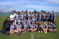 The St Mary's College team poses for a group photo after the 2019 Hurricanes Youth Council Under-15 Girls' Rugby Tournament match between St Mary's College and Rahui at Playford Park in Levin, New Zealand on Tuesday, 3 September 2018. Photo: Dave Lintott / lintottphoto.co.nz