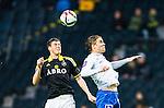***BETALBILD***  <br /> Solna 2015-05-10 Fotboll Allsvenskan AIK - IFK Norrk&ouml;ping :  <br /> AIK:s Sauli V&auml;is&auml;nen i en duell med Norrk&ouml;pings Christoffer Nyman under matchen mellan AIK och IFK Norrk&ouml;ping <br /> (Foto: Kenta J&ouml;nsson) Nyckelord:  AIK Gnaget Friends Arena Allsvenskan IFK Norrk&ouml;ping