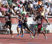 Gerald Phiri of Texas A&M won the 100m with a time of 10.06sec. and a wind reading of 1.3. In winning the race, Gerald also broke the meet record of 10.07 set in 1976 by Ed Preston. Photo by Errol Anderson