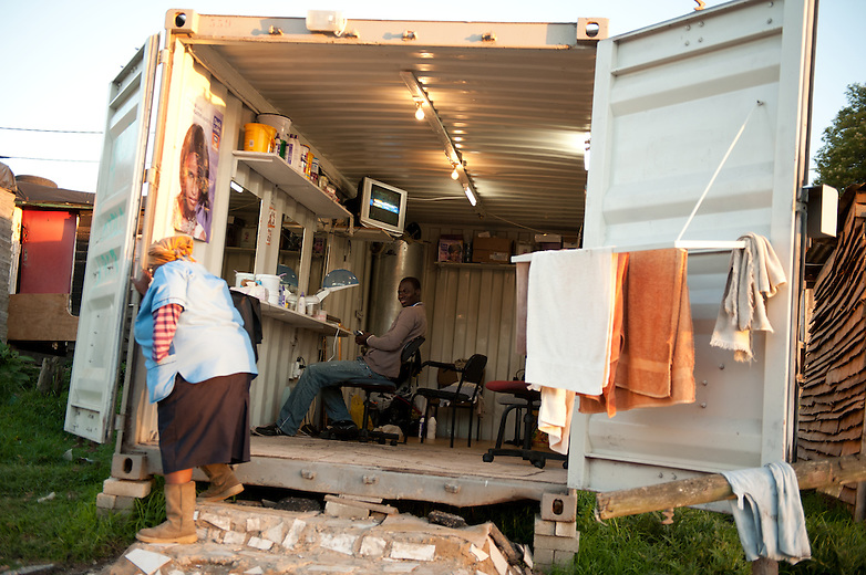 In many shanty towns around South Africa, shipping containers are used by local shop owners – they are secure and waterproof and provide the ideal platform to sell local goods within their community.