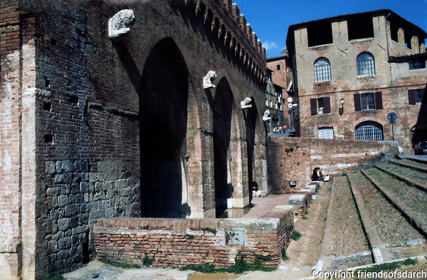 Siena:  Fontabranda Fountain, 14th  century.   Photo '83.