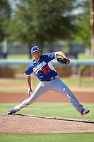 Los Angeles Dodgers pitcher Jose De Leon (87) throws live batting practice on a side field during an Instructional League game against the Cleveland Indians on October 10, 2016 at the Camelback Ranch Complex in Glendale, Arizona.  (Mike Janes/Four Seam Images)