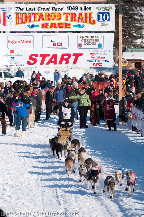 2010 Iditarod Re-start in Willow Alaska musher # 69 JOHN STEWART.