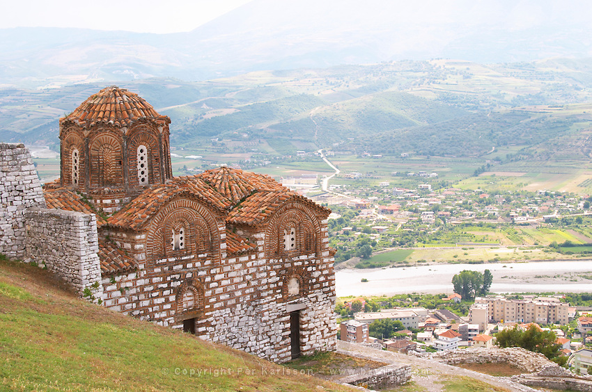 The Hagia Triada Church. View over the valley and down on the modern lower part of the town. Berat upper citadel old walled city. Albania, Balkan, Europe.