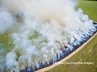 63863-02704 Summer prairie burn Prairie Ridge State Natural Area - aerial - Marion Co. IL