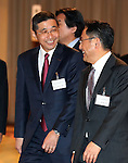 FILE: Hiroto Saikawa to be new Nissan President<br /> January 5, 2017, Tokyo, Japan - This picture taken on January 5, 2017 shows Japan's auto giant Nissan Motor vice chairman Hiroto Saikawa (L) with Toyota Motor president Akio Toyoda at a New Year party of automobile manufactures association in Tokyo. Saikawa will become Nissan's president on April 1 while Nissan president and chairman Carlos Ghosn will be chaiman, news reported.   (Photo by Yoshio Tsunoda/AFLO) LwX -ytd-
