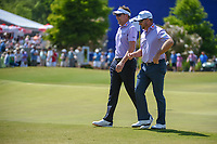 Ian Poulter (GBR) and Graeme McDowell (NIR) share a laugh around the green on 17 during Round 2 of the Zurich Classic of New Orl, TPC Louisiana, Avondale, Louisiana, USA. 4/27/2018.<br /> Picture: Golffile | Ken Murray<br /> <br /> <br /> All photo usage must carry mandatory copyright credit (&copy; Golffile | Ken Murray)