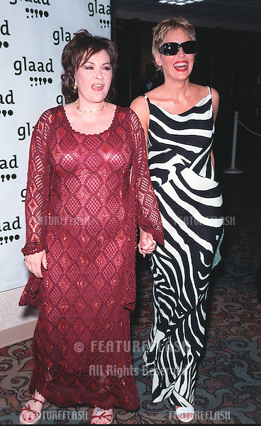 17APR99:  Actress SHARON STONE (right) with comedienne ROSEANNE at the Gay & Lesbian Alliance Against Defamation (GLAAD) Media Awards in Los Angeles..© Paul Smith / Featureflash