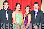 ENJOYING: Having a great time at the St Joseph's Secondary School, Ballybunion Debs at Abbeygate Hotel on Saturday l-r: Stephen Galvin, Maire?ad Lynch, Shauna O'Connor and Evan Galvin..   Copyright Kerry's Eye 2008