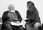 """King Lear"" rehearsed reading rehearsals. Old Vic Theatre. Director: Jonathan Miller. Joss Ackland, Greta Scacchi."