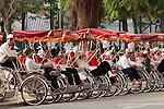 Cyclos at the Hanoi Opera House, Hanoi Old Quarter, Vietnam