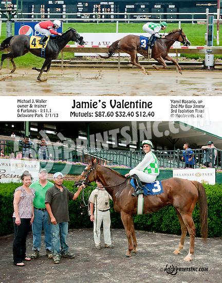 Jamie's Valentine winning at Delaware Park on 7/1/13