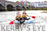 Charolette Leena nd Eleanor O'Leary floating down the river Laune  at the annual Killorglin raft race on Friday evening