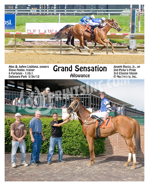 Grand Sensation winning before being disqualified at Delaware Park on 5/24/12