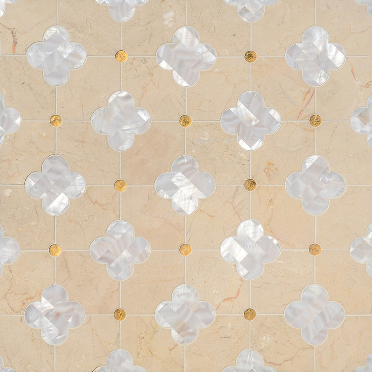 Ella, a waterjet mosaic shown in 24K Gold Glass, Shell, and honed Crema Marfil, is part of the Aurora® collection by New Ravenna.