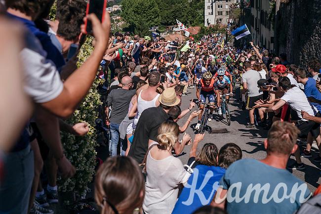 Italian riders Franco Pellizotti (ITA/Bahrain-Merida) &amp; Domenico Pozzovivo (ITA/AG2R-LaMondiale)<br /> <br /> Stage 15: Valdengo &rsaquo; Bergamo (199km)<br /> 100th Giro d'Italia 2017