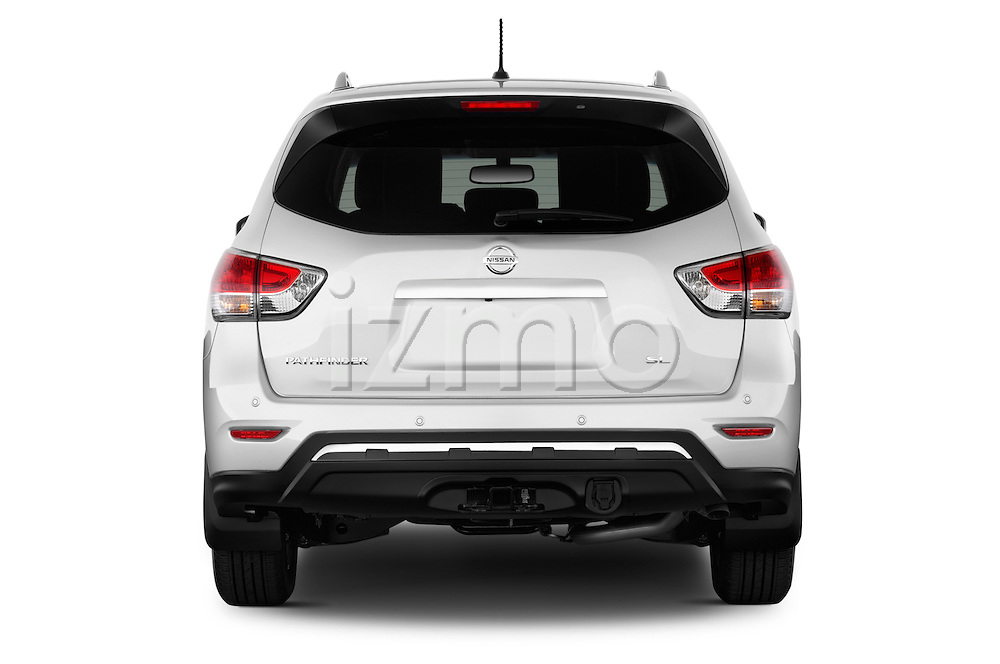 Straight rear view of a 2013 Nissan Pathfinder  SUV